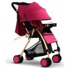 รถเข็นเด็กน้ำหนักเบาะ โครงรถสีทองเมทาลิค หลังคาสีชมพูโอโรส WB kid