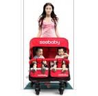 รถเข็นเด็กน้องแฝด Seebaby โครงหลังรถพื้นสีแดง ใช้ดีแข็งแรง
