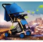 รถเข็นเด็กน้ำหนักเบาะ WB kid สีฟ้า โครงรถสีทองเมทาลิค