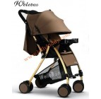 รถเข็นเด็กน้ำหนักเบาะ WB kid โครงรถสีทองเมทาลิค หลังคาสีน้ำตาล