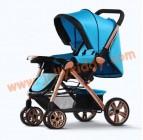 รถเข็นเด็กน้ำหนักเบาะ WB kid Blue color โครงรถสีทองเมทาลิค